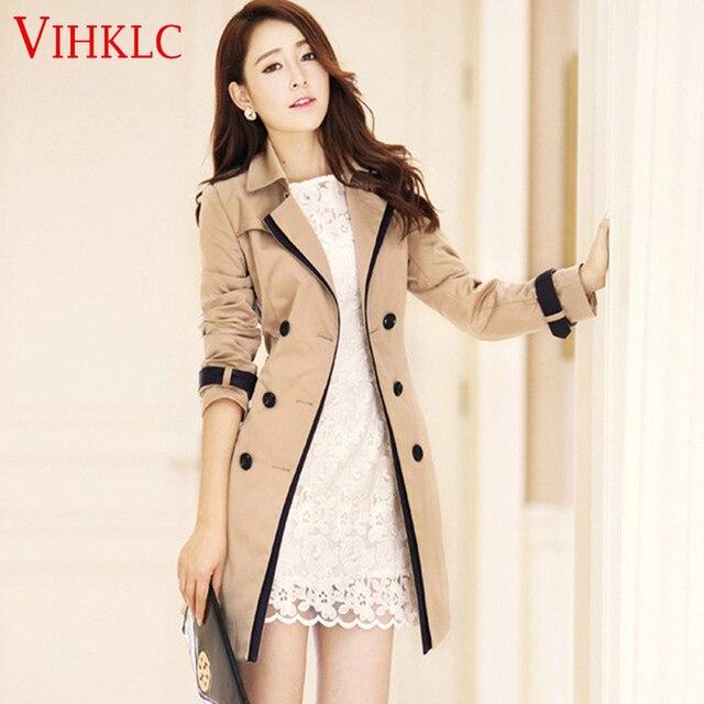 3b5772f770e Women Trench Coat 2017 Spring Autumn Korean Slim Double-Breasted Coat Pure  color Female Retro Casual Coat Plus Size 3XL A339