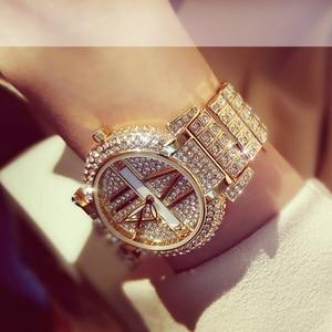 Image 5 - 2019 Luxury Diamond Women Watches Fashion Stainless Steel Bracelet Wrist Watch Women Design Quartz Watch Clock relogio feminino