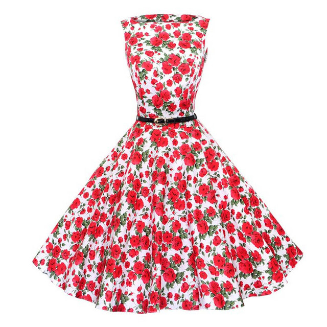 2018 Floral Print Vintage Dress Women Sleeveless 1950s 60s Style ...