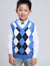 2017 autumn children's clothes boys vests causal splice v neck cotton baby boy knitting vests for boys big kids pullover vests