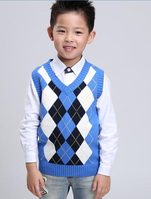 Coletes à prova de roupas de outono 2016 das crianças meninos causal emenda v neck coletes à prova de bebê de tricô de algodão para meninos crianças grandes pullover coletes à prova de