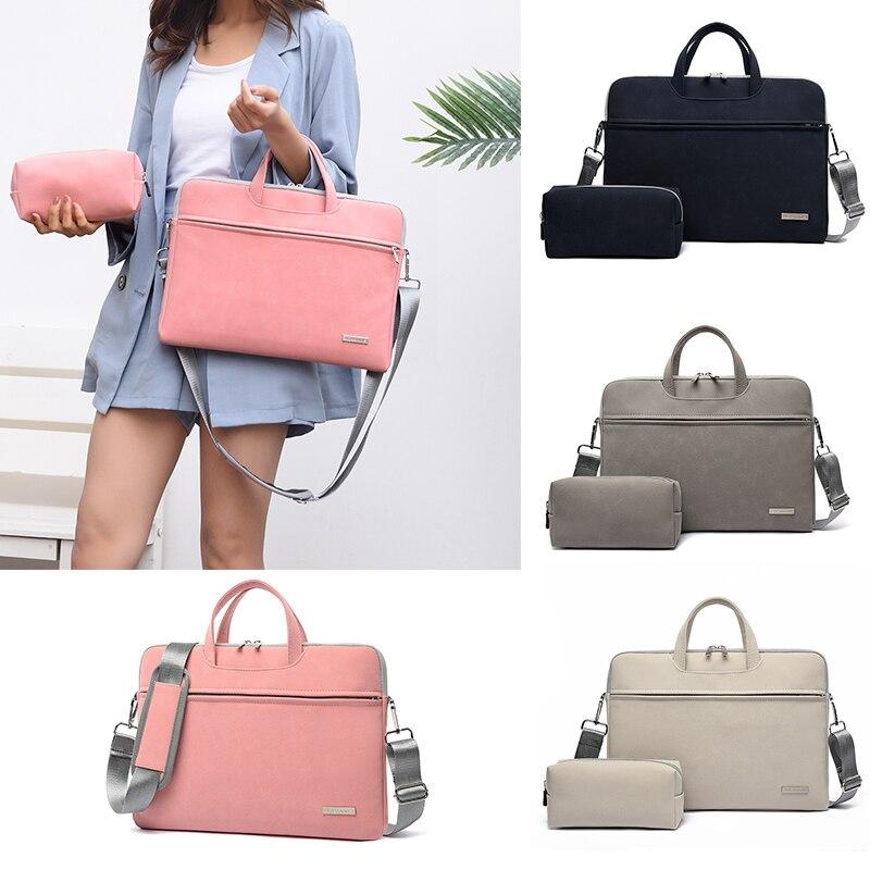 Couro do plutônio das mulheres bolsa para portátil portátil maleta de transporte para macbook ar 13.3 14 15.6 polegada bolsas dos homens ombro mouse saco