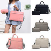 PU Leather women Laptop Bag Notebook Carrying Case Briefcase for Macbook Air 13.3 14 15.6 inch men Handbags shoulder Mouse Bag