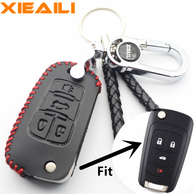 Confident Xieaili Genuine Leather Remote Key Chain 4button Folding Key Case Cover For Chevrolet Malibu/cruze/camaro/equinox/sonic S331 Key Case For Car