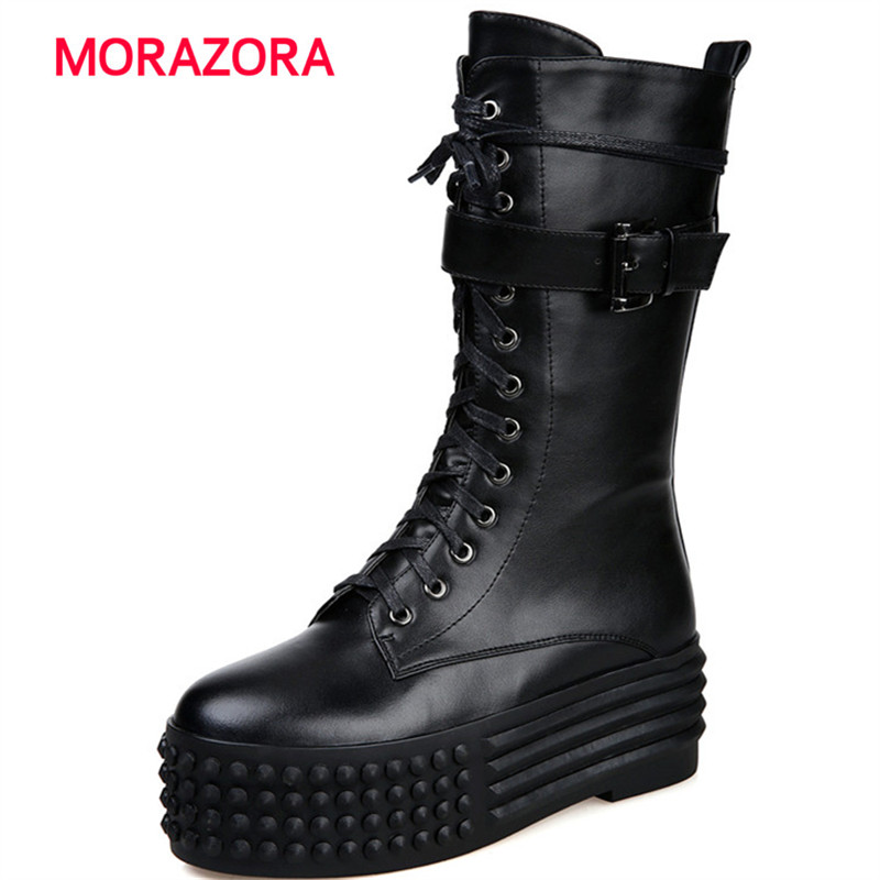 MORAZORA 2018 new high heel genuine leather boots round toe flat with ankle boots for women autumn winter cross tied boots 2016 leather shoes female autumn winter new flat heel round toe ankle boots tide martin boots women flat bottomed tassel boots