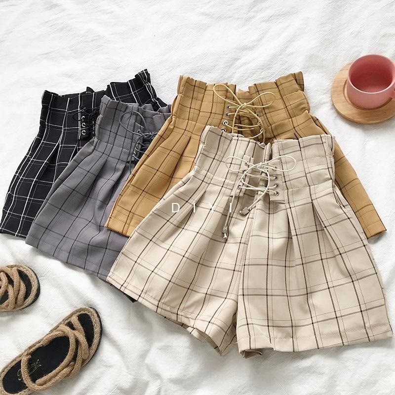 2019 New Summer Autumn Fashion Elastic Sashes High Waist Shorts Women Vintage Wide Leg Shorts Solid Thin Bow Female Shorts Mw204