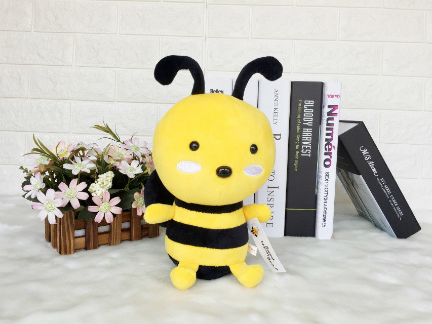 1pcs 25cm Bee Plush Toy  Stuffed Doll yellow Cute Bee Toy For Baby Kids Children's Gift Home Decoration Animal Insect Soft Toy 45cm cute dog plush toy stuffed cute husky dog toy kids doll kawaii animal gift home decoration creative children birthday gift