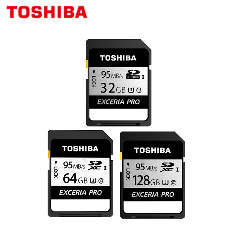 TOSHIBA SD Card EXCERIA PRO SDXC 128GB 64GB SDHC 32GB Original Class10 UHS-I U3 Memory Card 95MB/s N401 Flash Card For Camcorder