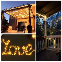 20M Solar Copper Wire String Light 8Modes LED Waterproof LED Strip For Fairy Wedding Party Decoration Holiday lighting 1PCS