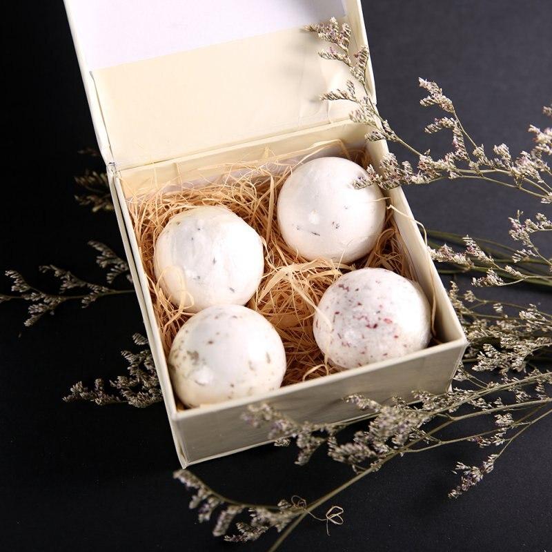 4pcs Bath Bomb Ball Sea Salt SPA Bath Explosive Salt Dried Flowers Series of Effervescent Bath Salt Ball New Arrival