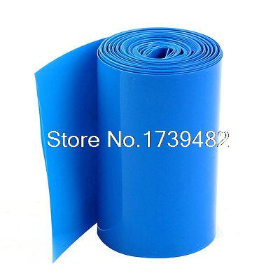5Meters 70mm Width PVC Heat Shrink Wrap Tube Blue for 4 x 18650 Battery Pack