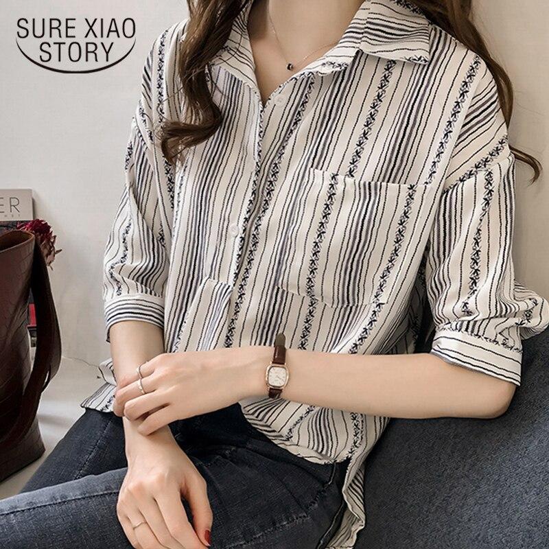 autumn women's new 2018 loose large-size female   blouses   striped   shirt   women fashion   blouse     shirt   base feminine tops 1179 40