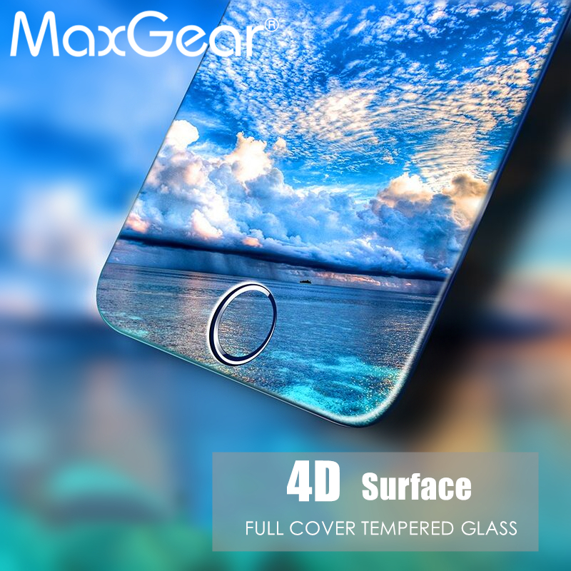 MaxGear 4D Full Cover Tempered Glass For iPhone 6 6s 6 s 7 Plus 9H Screen Protector Film For iphone 6 plus Tempered Glass