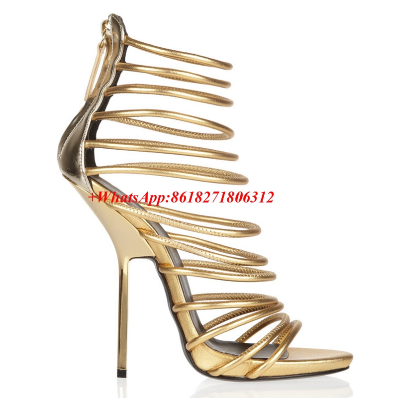 Chaussure Femme Summer Style Metallic Gold Platform Gladiator Sandals Women Ankle Boots Sexy High Heels Narrow Band Shoes Woman phyanic 2017 gladiator sandals gold silver shoes woman summer platform wedges glitters creepers casual women shoes phy3323