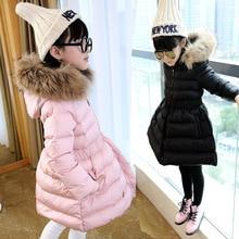 New 2017 Cartoon Girl Winter Jacket Down Jackets Coats Warm Kid Real Fur Baby Thick Duck Down Jacket Children Winter Outerwears