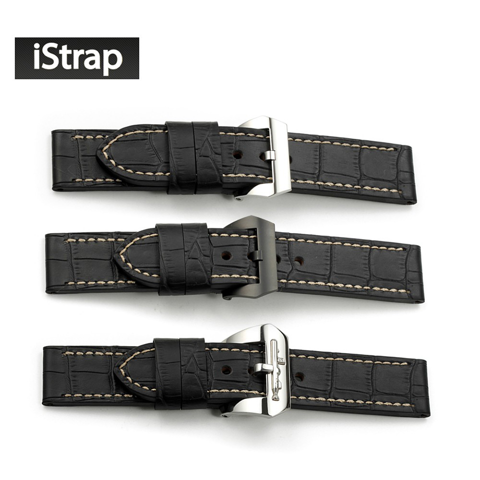 24mm Paded Alligator Grain Genuine Leather Watch Band Black PVD Pre v Tang Buckle Strap for