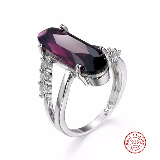 Classic Luxury Real Solid 925 Sterling Silver Ring 2 CT purple Zircon Crystal We