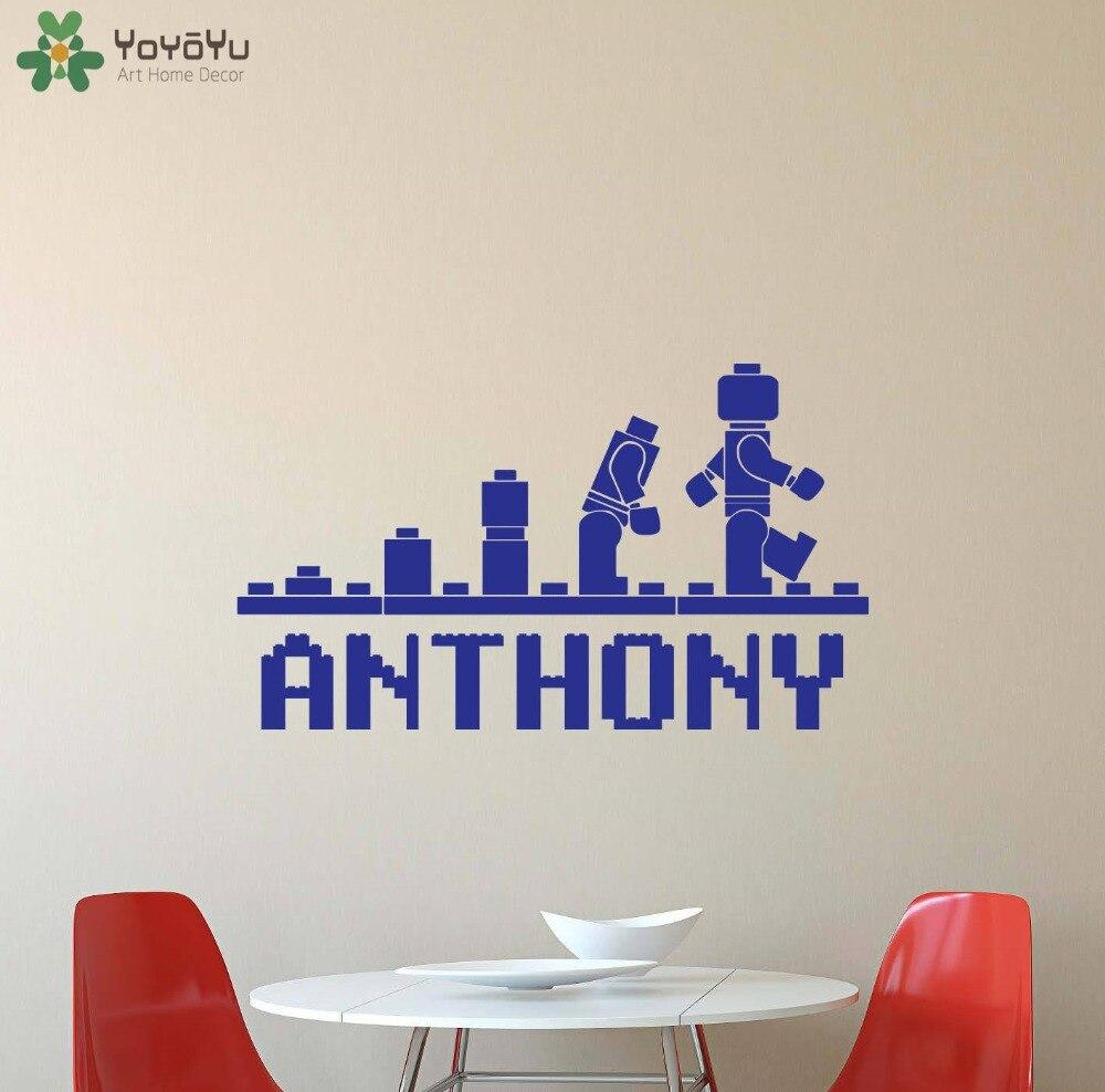 Персонализированные Имя стены стикеры для детей номеров для мальчиков и девочек Спальня Наклейка на стену Детские Lego пользовательское имя ...
