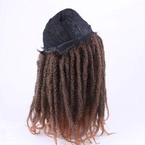 Image 3 - Luxo para trança 18 polegada ombre cor marley afro kinky encaracolado peruca sintética para mulher preto marrom escuro