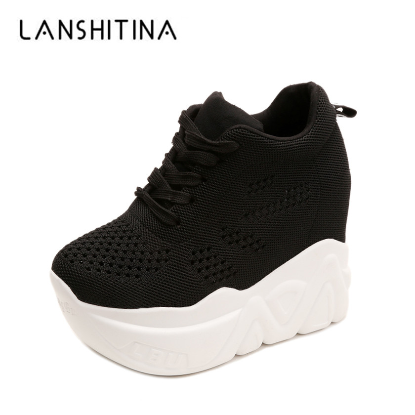 2019 New Summer Platform Women Shoes Breathable Mesh Sneakers Wedge Heels White Casual Shoes Lace Up 12 CM High Heels Sandals