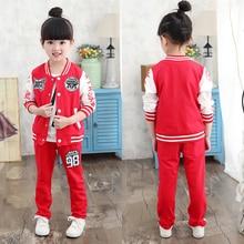 Fashion girls clothing sets child long-sleeve baseball sweatshirts outerwear + pants casual sports sets girls twinset