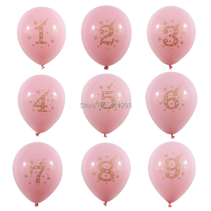 12pcs Lot Kids Birthday Balloon Writting Number 1 2 3 4 5 6 7 8 9 Years Old 1st 2nd Party Digital Ballon Latex Globos