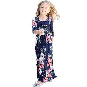 Богемные платья макси для девочек на осень и весну 2018 Платья с длинными рукавами и принтом детская пляжная одежда для дня рождения