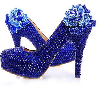 Platform Pumps Wedding Shoes Blue Woman Crystal High Heels Bride Bridesmaid Ladies Shoes Party Rhinestone Round Toe Slip On Shoe