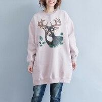 Winter Sweatshirt Women Cartoon Deer Printed Casual Velvet Long Sleeve Harajuku Pink Sweat Femme Pullovers Sweatshirts