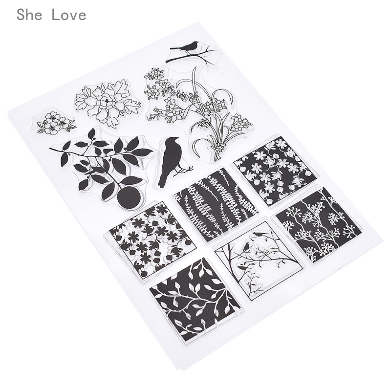 She Love Square Bird Silicone Clear Stamp For Scrapbooking DIY Album Cards Making Decoration Transparent Rubber Stamp