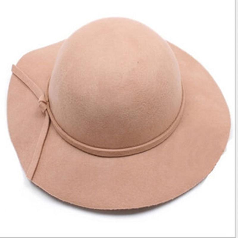 2017 new Vintage Retro Kids Child Boy Girl Hats Fedora polyester Felt Crushable Wide Brim Cloche Floppy Sun Beach Cap 5
