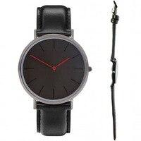 สีดำวงสีดำตัวเรือน.สีแดงชั่วโมงมือผู้ชายและผู้หญิงนาฬิกาคลาสสิกการออกแบบไม่มี