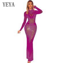 YEYA Sexy Sheer Mesh Long Sleeve Bodaycon Party Maxi Dress Women Shiny Rhinestone Perspective Bandage Club Robe