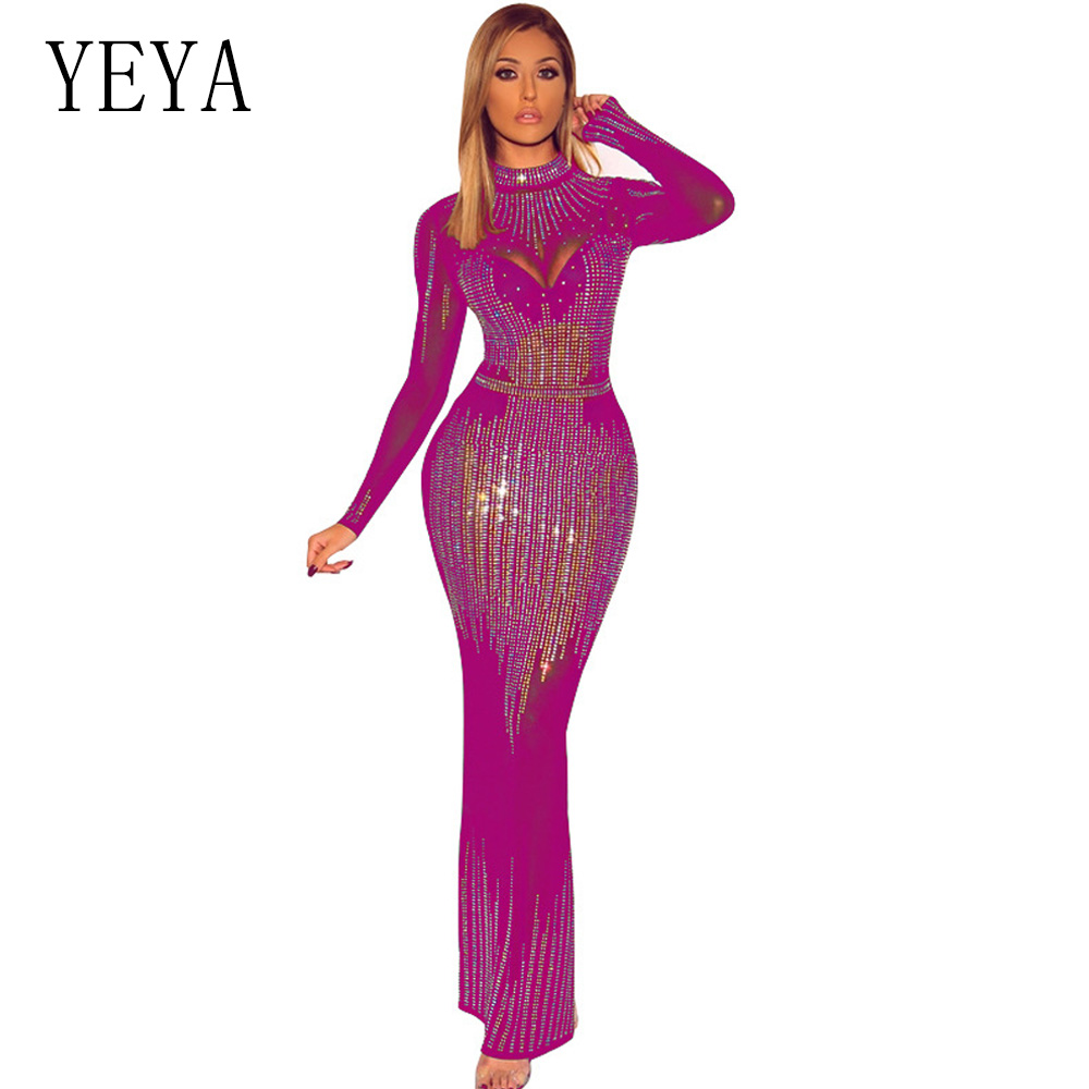 YEYA Sexy maille transparente à manches longues Bodaycon fête Maxi Robe femmes brillant strass Perspective Bandage Club longue Robe Robe