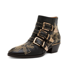 2019 New Leather Rivets Booties Buckle Straps Thick Heel Black Ankle Boots Studded Decorated Motorcycle Woman Riding boots