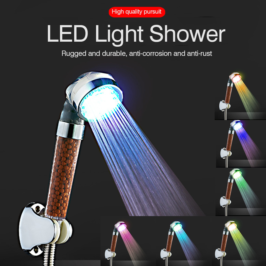 LED Shower Head Pressurized Rain Shower Head Colorful Led Water Saving High Pressure Home Handheld Nozzle Large Bathroom Shower