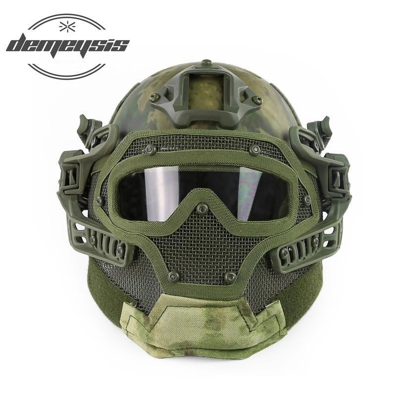 Casque tactique militaire de l'armée casque Casco Airsoft entièrement couvert accessoires Paintball tir casque de protection de chasse