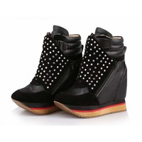 Новые модные туфли со стразами с круглым носком двойной Повседневная обувь на молнии на платформе Ботильоны на высокой танкетке увеличиваю