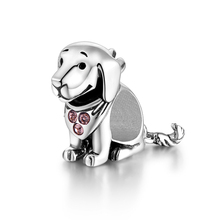 925 Sterling Silver Dog Animal Charms With Pink Created Stone