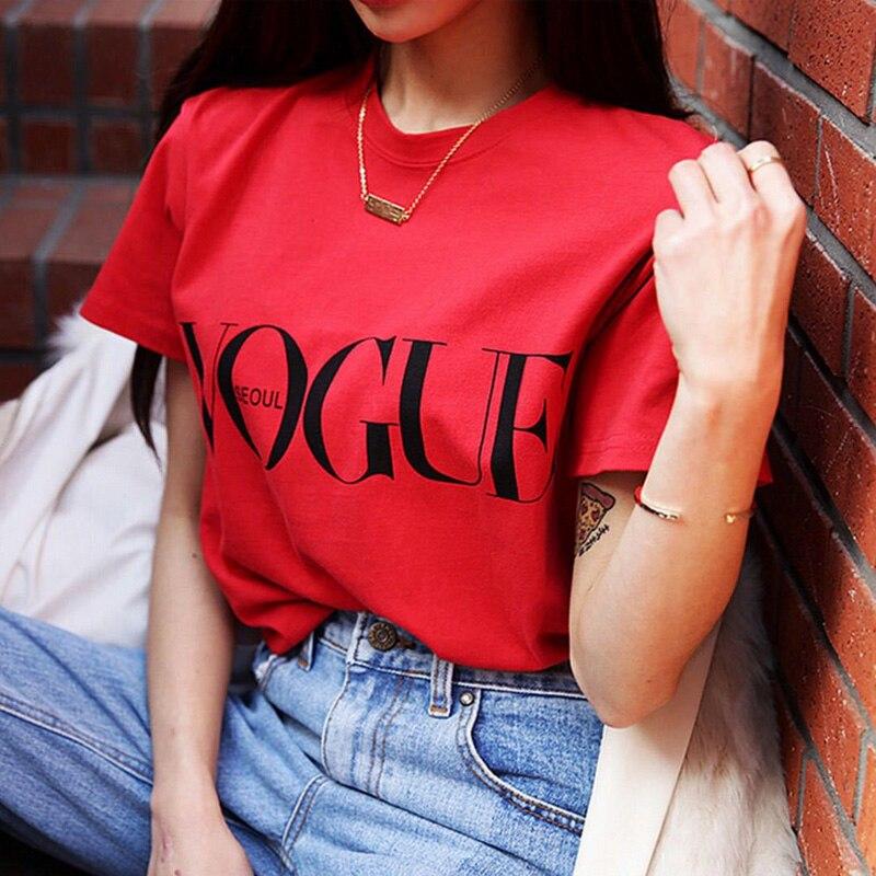 Мод Лето девочка короткий рукав Верхняя одежда для Для женщин Vogue с принтом букв Harajuku футболка красные, черные женские футболки Camisas