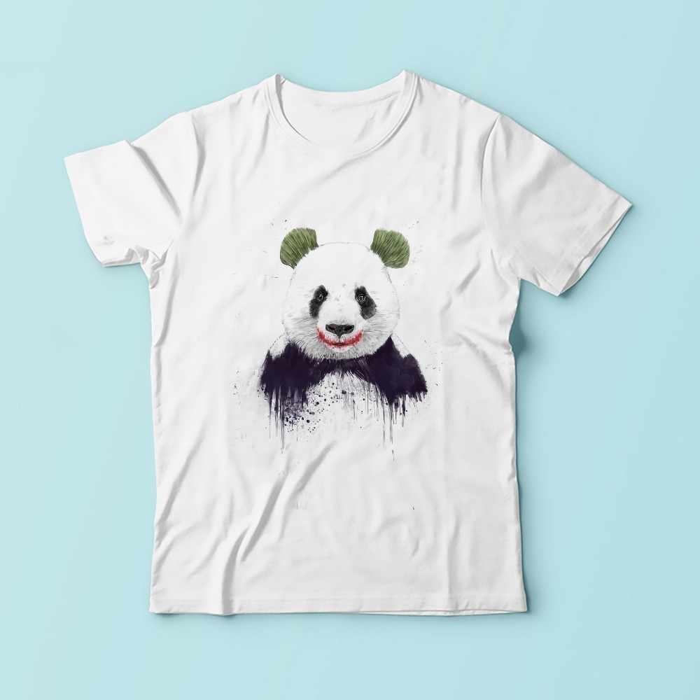 Джокер панда забавные мужские футболки 2018 лето новый белый короткий рукав Повседневная homme футболка без клея печати