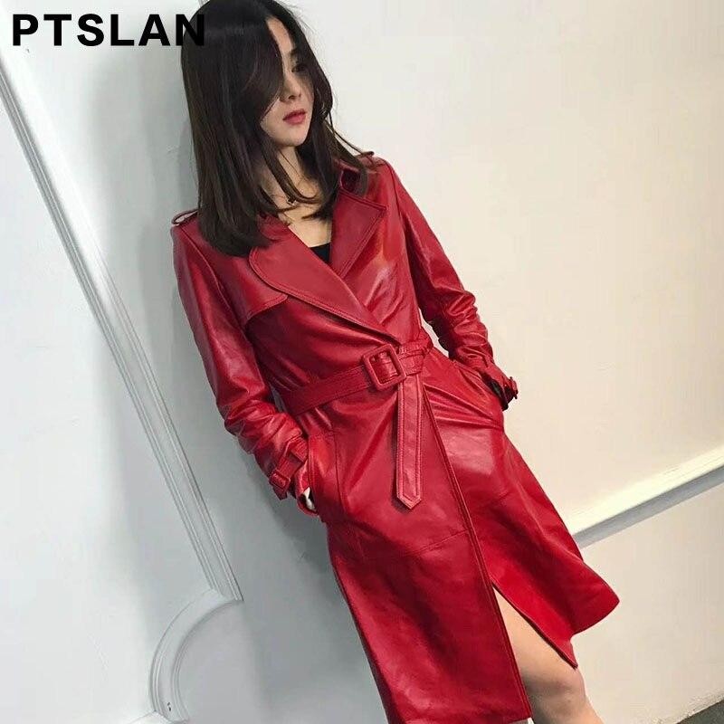 Ptslan 2017 High Quality Women Real Leather Jacket Slim Long Trench Coat Female WinterJackets Coat P2994