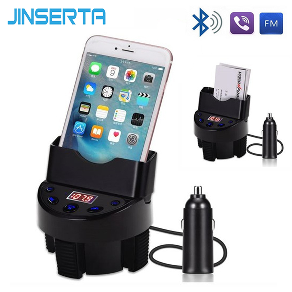 JINSERTA FM Transmitter Wireless Bluetooth Handsfree Car Kit Car MP3 Audio Player USB Car Charger LCD Display Support U Disk TF