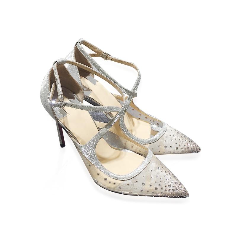 3f56650a Heel Nude Calado Color De Bombas Zapatos Boda Cruzada Mujeres Tacón Mujer  Cristal 2018 Malla Correa Thin black Sandalias silver Nuevo Estilo TU6qUA8x