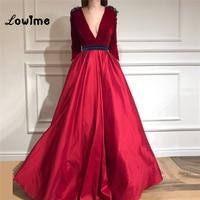 Burgundy Velour Evening Dress Deep V Neck Middle East Women Party Dress 2018 Vestidos Long Sleeves Prom Dresses Dubai Abaya Gown