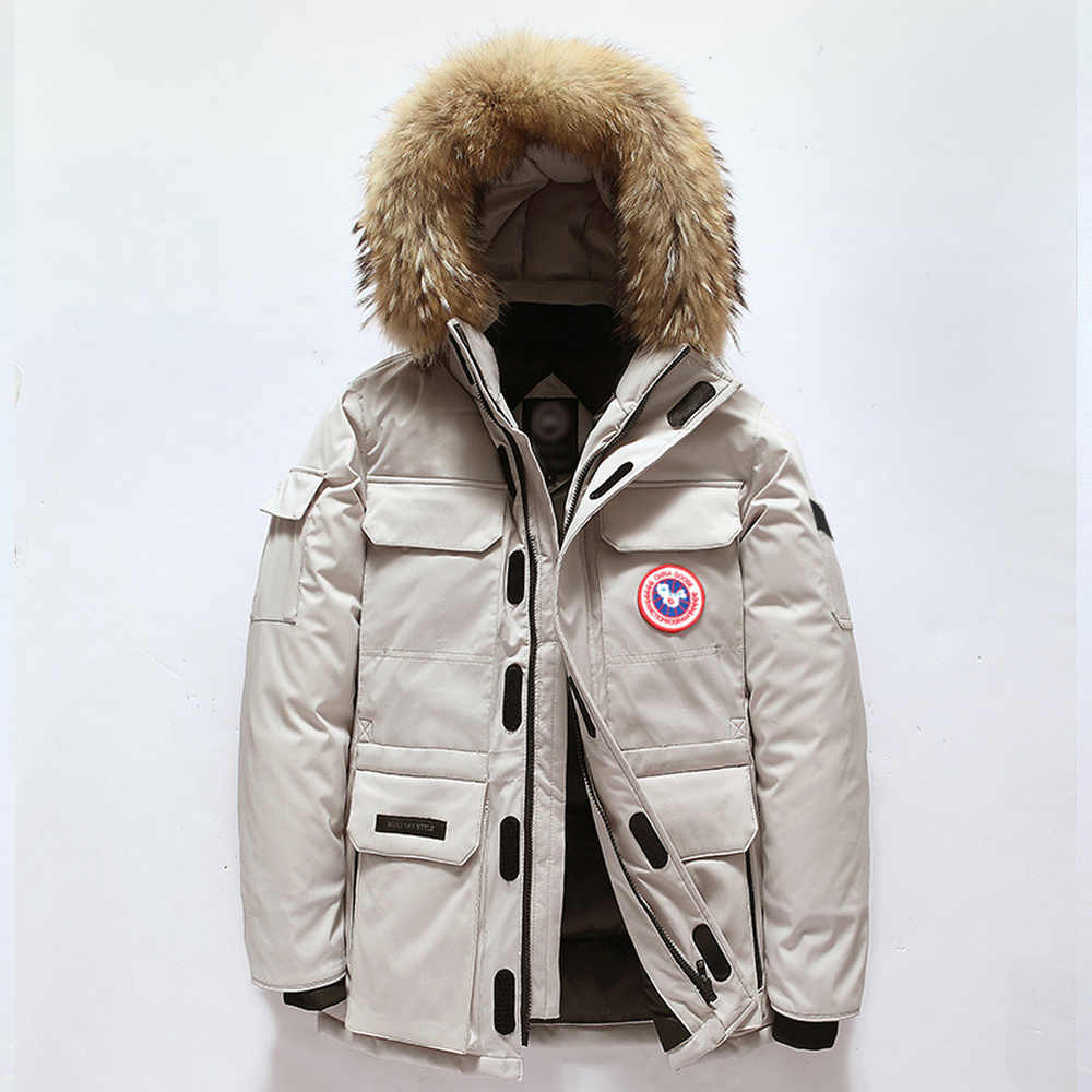 a5f812e7aafc Top Down Jacket Men women Winter Thick Warm 90% White Duck Down Hooded  Natural Fur