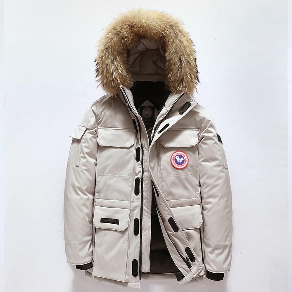 Top   Down   Jacket Men women Winter Thick Warm 90% White Duck   Down   Hooded Natural Fur Collar Man   Down     Coat   Waterproof Men Parkas