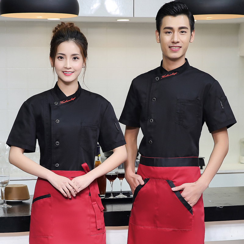 Chef's Work Clothes Short Sleeves Kitchen Male Chefs  Canteen Uniform Sushi Chef Uniform  Chef Coat