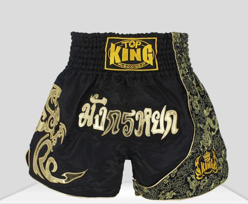 Haute qualité! muay thai short kick boxe shorts troncs lutte mma combat sport pantalon Noir Rouge argent pour adultes enfants