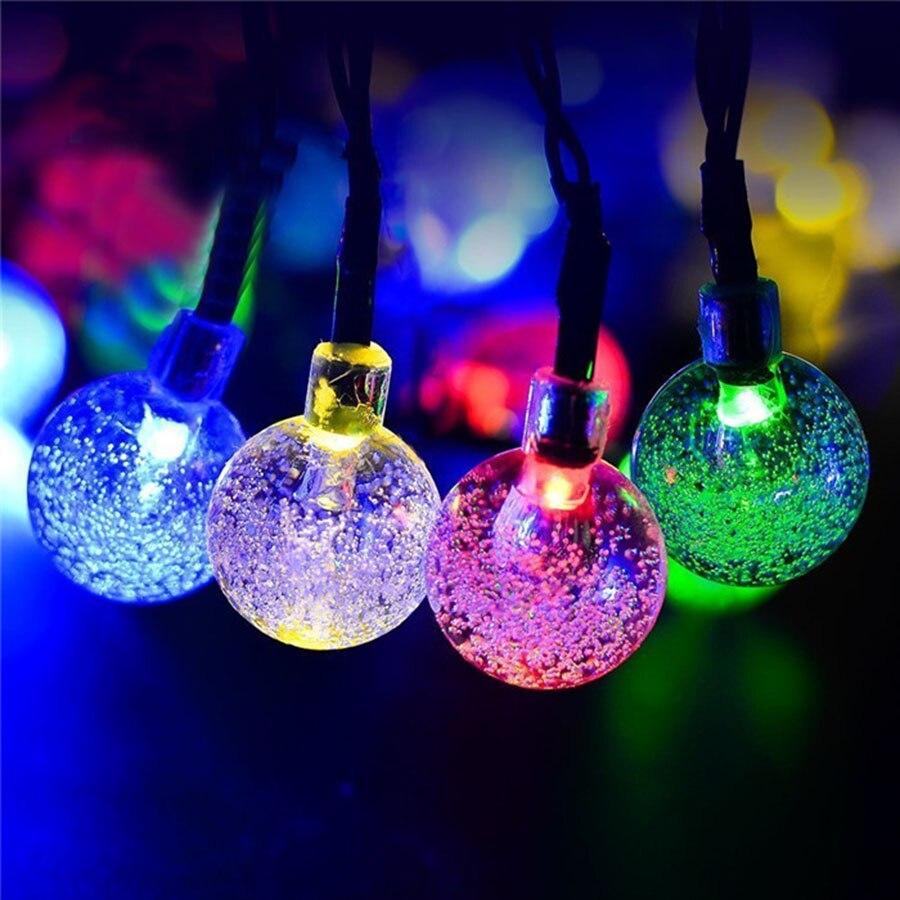 5M 30LEDs Solar Powered Crystal Ball Led String Lighting LED Fairy Light for Wedding Chr ...